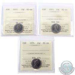 10-cent 1971, 1972 & 1974 ICCS Certified MS-66. All tied for the finest known. 3pcs