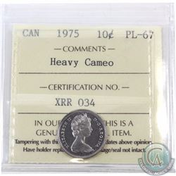 10-cent 1975 ICCS Certified PL-67 Heavy Cameo. Tied with one other for finest known