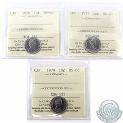 10-cent 1977, 1978 & 1979 ICCS Certified MS-66. All tied for the finest known. 3pcs