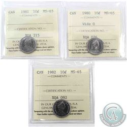 10-cent 1980 Wide 0, 1981 & 1982 ICCS Certified MS-65. 3pcs