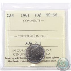 10-cent 1981 ICCS Certified MS-66. Tied with 5 others for finest known