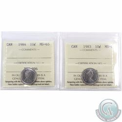 10-cent 1983 & 1984 ICCS Certified MS-65. 2pcs