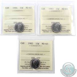 10-cent 1983, 1984 & 1985 ICCS Certified MS-65. 3pcs