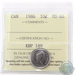 10-cent 1986 ICCS Certified MS-66. Tied for the finest known by ICCS.