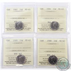 10-cent 1986, 1987, 1988 & 1989 ICCS Certified MS-65. 4pcs