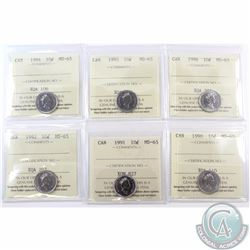 10-cent 1990, 1991, 1992, 1994, 1995 & 1996 ICCS Certified MS-65. 6pcs