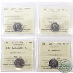 10-cent 1992, 2000, 2001P Volunteers & 2004P Golf Numismatic BU ICCS Certified MS-66. 4pcs