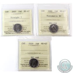10-cent 2000 Numismatic BU, 2007 Straight 7 & 2009 ICCS Certified MS-67. All tied for finest known.