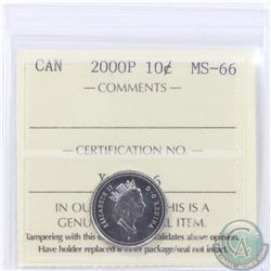"""10-cent 2000P ICCS Certified MS-66. RARE """"P"""" issue. Tied for the finest grade by ICCS (1 of 6)."""