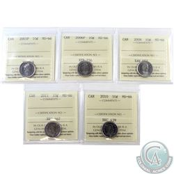 10-cent 2003P, 2006P, 2008, 2010 & 2011 ICCS Certified MS-66. 5pcs