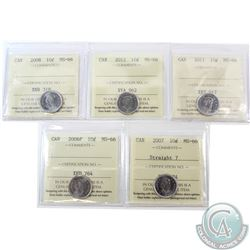 10-cent 2006P, 2007 Straight 7, 2008, 2011 & 2012 ICCS Certified MS-66. 5pcs