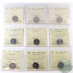 10-cent 2006P, 2007, 2008, 2009, 2011, 2012, 2013, 2015 & 2016 ICCS Certified MS-65. 9pcs