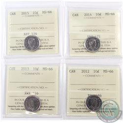 10-cent 2012, 2013, 2014 & 2015 ICCS Certified MS-66. 4pcs