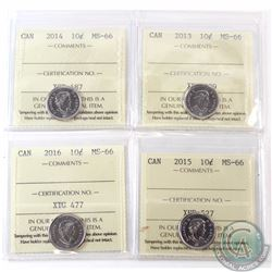 10-cent 2013, 2014, 2015 & 2016 ICCS Certified MS-66. 4pcs