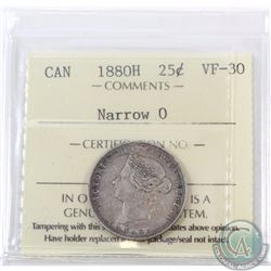 25-cent 1880H Narrow 0 ICCS Certified VF-30