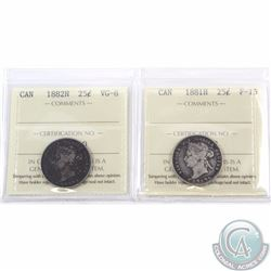 25-cent 1881H ICCS Certified F-15 & 1882H ICCS Certified VG-8. 2pcs