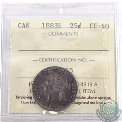 25-cent 1883H ICCS Certified EF-40. A deep rich toned coin with hints of mint luster.