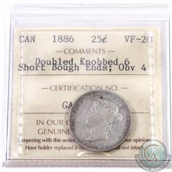 25-cent 1886 Double Knobbed 6; Short Bough Ends; Obverse 4 ICCS Certified VF-20