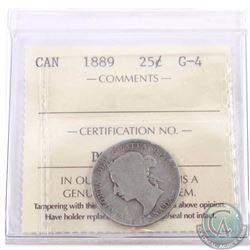 25-cent 1889 ICCS Certified G-4