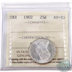 25-cent 1902 ICCS Certified AU-55. A nice edwardian coin with frosted white fields.