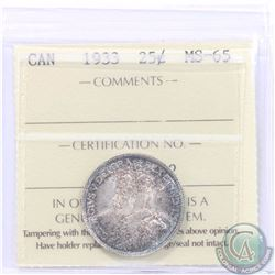 25-cent 1933 ICCS Certified MS-65! A choice original coin with frosty fields accented by indigo and