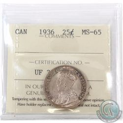 25-cent 1936 ICCS Certified MS-65! A choice original coin with soft satin fields accented with light