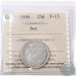 25-cent 1936 Dot ICCS Certified F-15