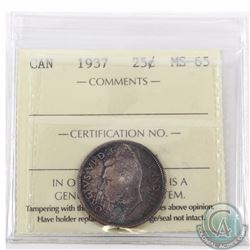 25-cent 1937 ICCS Certified MS-65. An original coin with deep rich tones of reds and dark blues.