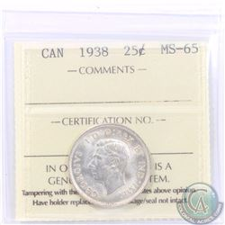 25-cent 1938 ICCS Certified MS-65. Soft satin fields with a hint of golden overlaying toning.