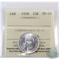 25-cent 1938 ICCS Certified MS-64