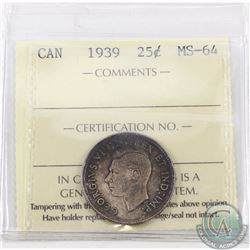 25-cent 1939 ICCS Certified MS-64
