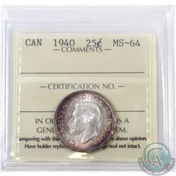 25-cent 1940 ICCS Certified MS-64