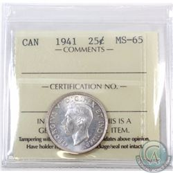 25-cent 1941 ICCS Certified MS-65