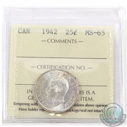 25-cent 1942 ICCS Certified MS-65.  A near fully white coin with only a few hints of toning.