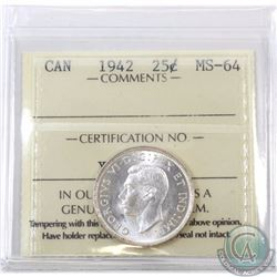 25-cent 1942 ICCS Certified MS-64