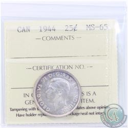 25-cent 1944 ICCS Certified MS-65. Nice original coin with light tones of violet toning over frosted