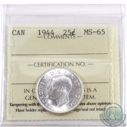 25-cent 1944 ICCS Certified MS-65. Only 4 with higher grade