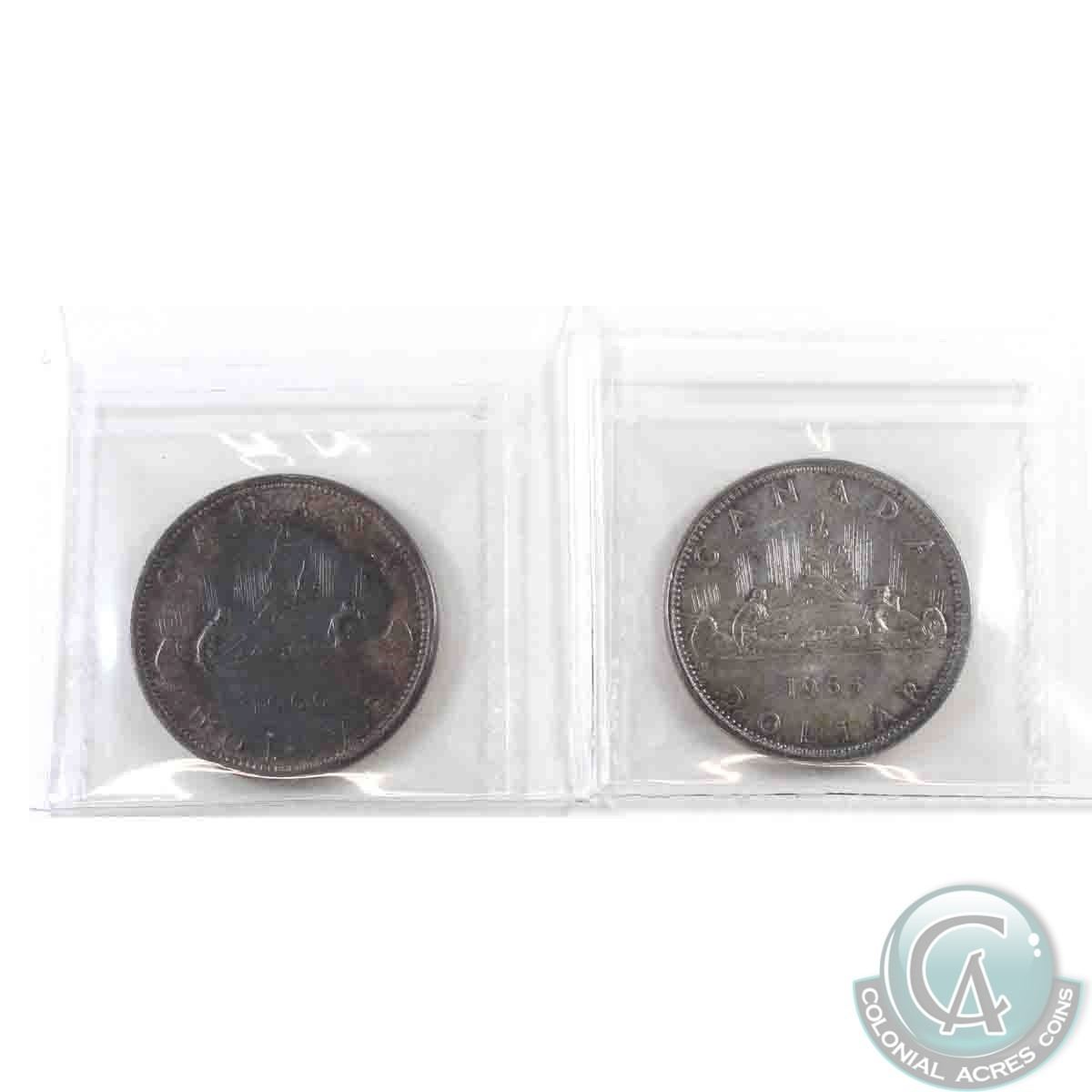 Silver 1 1966 Large Beads 1965 Blunt 5 Both ICCS Certified MS 64 Coins Are Tone