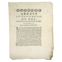 1720 Arrêt on the Billets of John Law