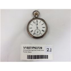 Antique Sterling Silver Swiss Lever Pocket Watch