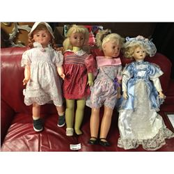 Group of Four Large Vintage Dolls
