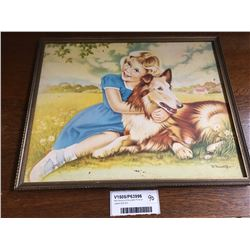 Mid Century B Roundhill Print of Lassie With Girl