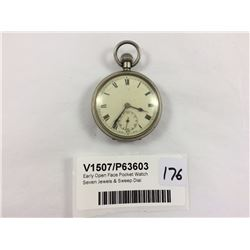 Early Open Face Pocket Watch Seven Jewels & Sweep Dial