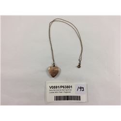 Early 9ct Gold & Sterling Silver Locket With Chain -Engraved