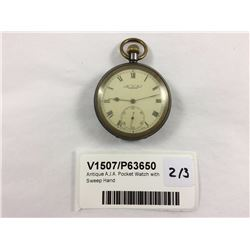 Antique A.J.A. Pocket Watch With Sweep Hand