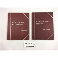 Two NZ Coin Albums with Half Pennies & Pennies