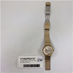 Vintage Caravelle Automatic Watch with Date (Strap A/F)