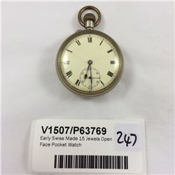 Early Swiss Made 15 Jewels Open Face Pocket Watch