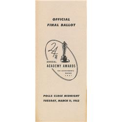 Academy Awards 1951 Ballot
