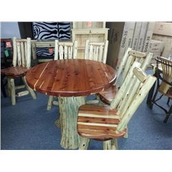 Red Cedar Table and Four Counter Height Bar Stools